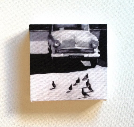 Under the sun / Tiny canvas print / -Print of Original acrylic painting-Digital print -mounted print - wall hanging