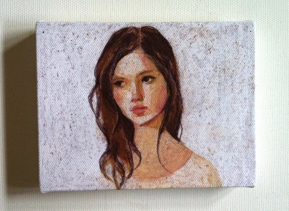Jane / Tiny canvas print - WOMAN FACE PRINT on tiny canvas- portrait painting print- wall hanging