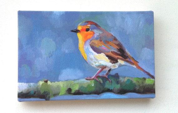 Songbird / Tiny canvas print - robin red breast - WALL ART PRINT- animal paintings prints - wall hanging- blue tit