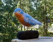 Eastern Bluebird Needle Felted Handmade Wool