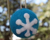 Blue Needle Felted Wool Sculpture Ornament And Snow Flake