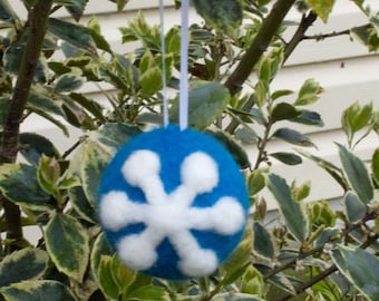 Needle Felted Christmas Ornament Blue And White Snowflake