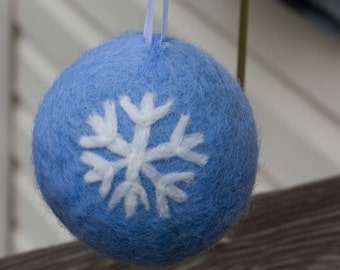 Needle Felted Christmas Snowflake Ornament Blue