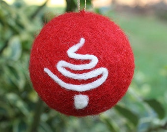 Needle Felted Christmas Ornament with Tree Detail   #EtsyGifts Holiday Decor Christmas Decoration