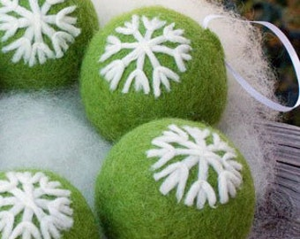 Needle Felted Christmas Ornaments Green with Snowflake Design