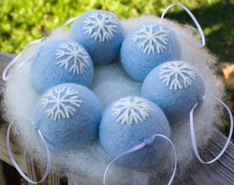 Felt Christmas Ornaments  Free Shipping #EtsyGifts Blue White Snowflake Design