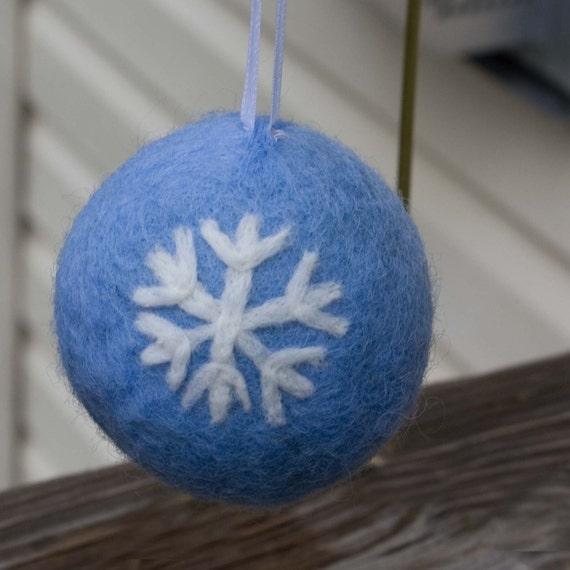 Needle Felted Christmas Snowflake Ornament Blue