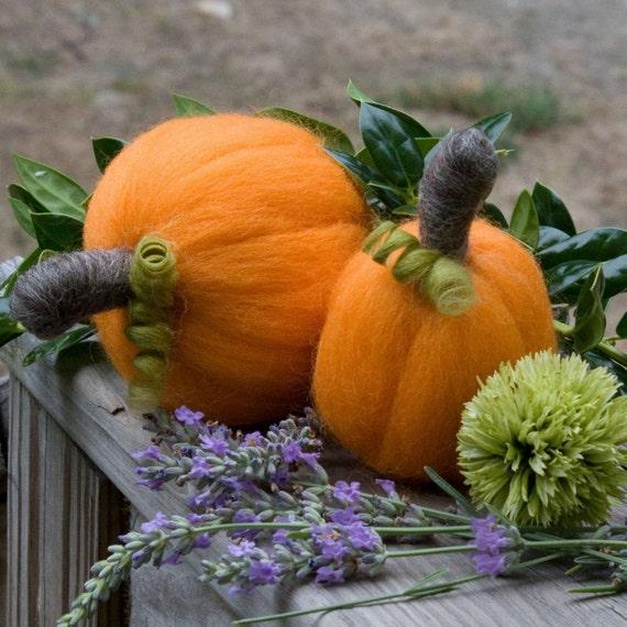 Needle Felted Twin  Pumpkins