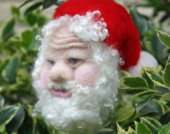 Needle Felted Santa Ornament  Sculpture