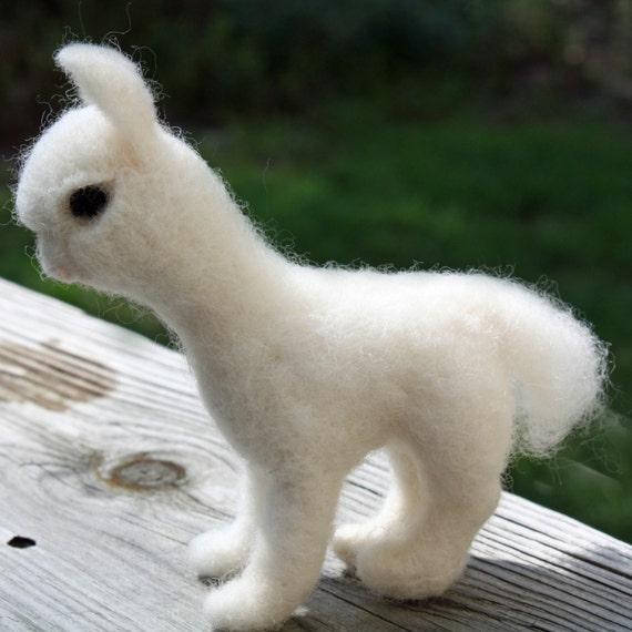 Needle Felted Alpaca Sculpture