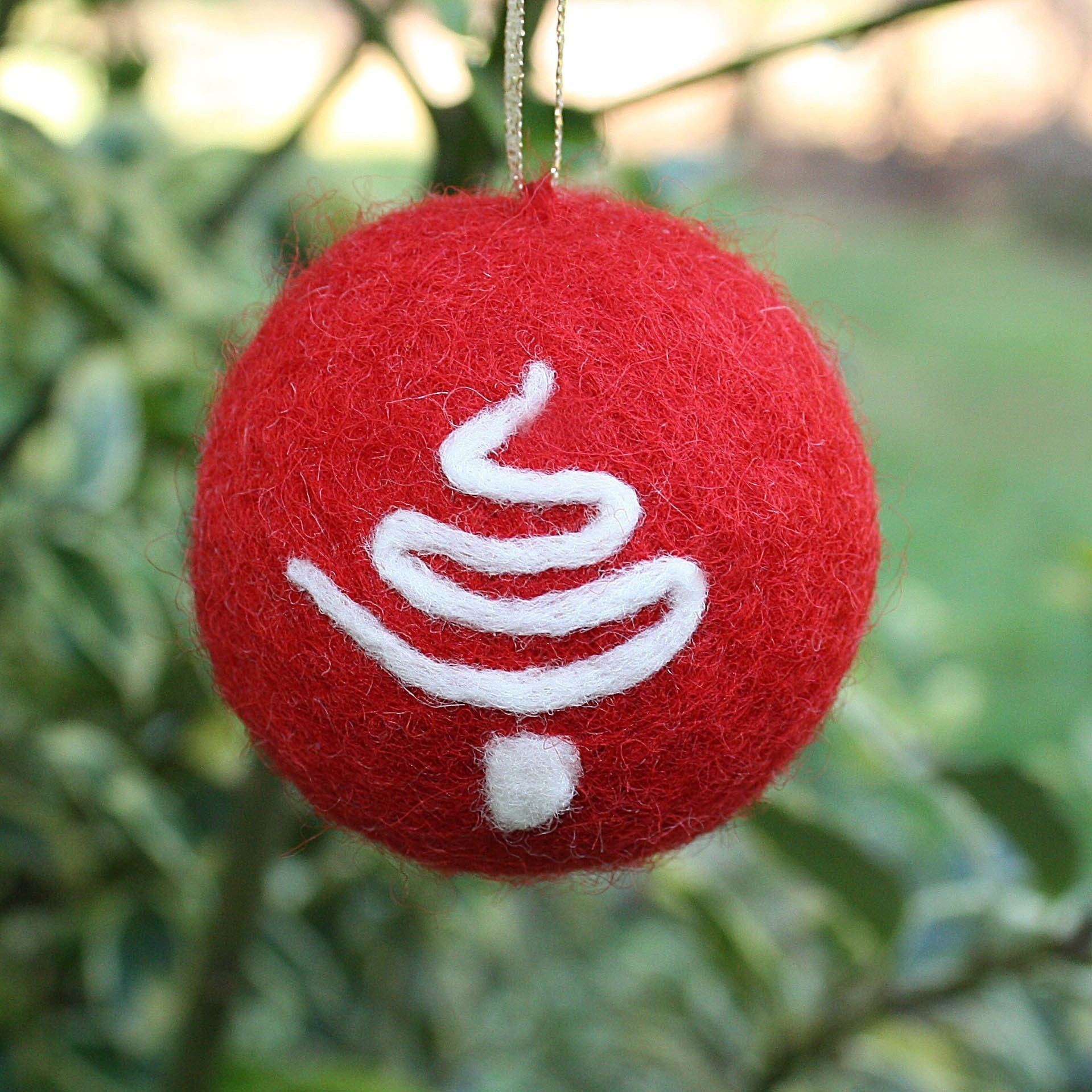 Bicycle Christmas Tree Decorations Ornaments: Needle Felted Christmas Ornament With Tree Detail Free