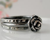 Rose Silver Ring. Three Oxidized Flower Stacking Set. Organic Stack. Aroluna Jewelry