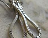 Sterling Silver -Raindrops- Rustic Dangle Earrings.