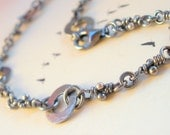 Sterling Silver Bracelet. Linked Knots. Rustic Oxidized Links. Handmade Chain -Magha-