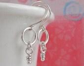Sterling Silver, Tiny Dangle Earrings, Silver Earring, Dangle Rustic Knot, Rustic Earrings, Organic Jewelry, Mini Knots, Short Venus Hoops