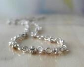 Anklet. Sterling Silver Rustic Link. Bitsy Handmade Organic Ankle Bracelet Chain