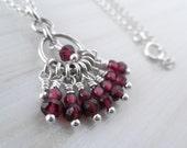 Bell Necklace. Sterling Silver Garnet Little Pendant. Petite Red Dangling Stones Aroluna Handmade Jewelry