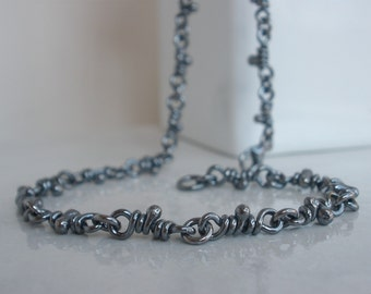 Tao Knots Sterling Silver Necklace. Oxidized Linked Handmade Chain. Knot Link. Rustic Links
