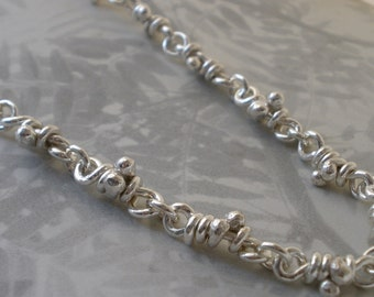 Ra. Sterling Silver Knots Necklace. Knot Link. Linked Sturdy Handmade Chain. Rustic Links. 18""