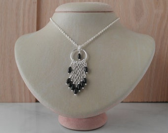 Sterling Silver Necklace. Cascade Pendant with chain & oval black agate stone beads.