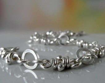 Maga Sterling Silver Bracelet. Linked Knots. Rustic Links. Handmade Chain. Links Bracelet. Handmade Aroluna.
