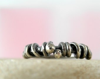Unico Sterling Silver Oxidized Rustic Ring. Size 5.5