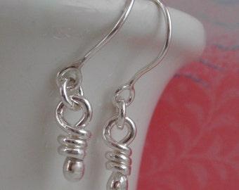 Dainty Earrings Sterling Silver Un Knot Earrings Tiny Dangle Earring Knotted Silver Rustic Jewelry Knots Silver Little Dangling Knot Aroluna