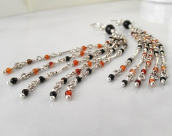 Long Sterling Silver Earrings Cascade. Tiny Dangling Red-Orange Agate Stones.