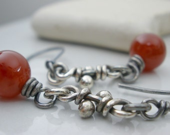Silver Knot Earrings Dangle Carnelian Oxidized Knots Organic Knot Rustic Knot Link Earring Red Orange Stone Link Earrings Carnelian Earrings