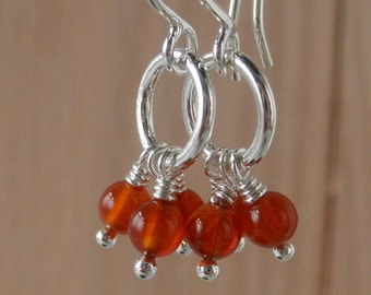 Lau Earrings Orange Red Carnelian Tiny Little Dainty Dangle Gemstone Sterling Silver Short Chandelier Light Simple Silver Whimsical Earrings