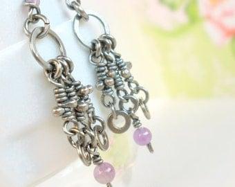 Amethyst Earrings Sterling Silver Dangle Rustic Knots Oxidized Silver Organic Knotted Cascade Earrings Dangle Chandelier Gemstone Amethyst