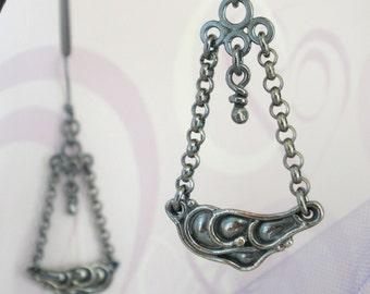Sterling Silver Earrings. Organic Oxidized Dangle. Rustic -Cloud-