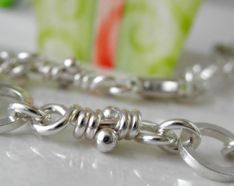 Malena Sterling Silver Links Bracelet, Organic Rustic Knots Bracelet, Handmade Chain Linked Bracelet, Aroluna Jewelry