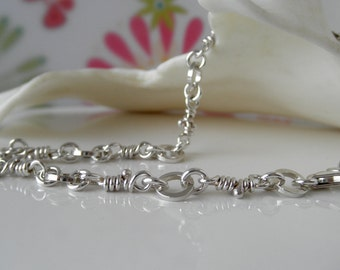 Neela Sterling Silver Bracelet. Linked Knots. Rustic Organic Links. Handmade Knotted Chain