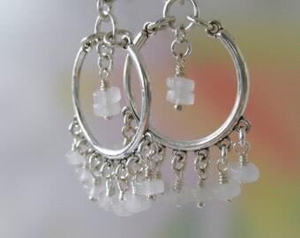 Chandelier Earrings Sterling Silver Quartz Earrings Rose Roundels Grey Off White Stone Quartz Cascade Sterling Earrings Pink Quartz Silver