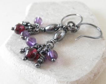Ana Garnet Amethyst Sterling Silver Dangle Earrings,Tiny Silver Knots, Silver Gemstone Earrings, Organic Rustic Oxidized Knots