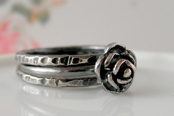 Rose Silver Ring. Three Oxidized Flower Stacking Set. Organic Stack. Aroluna Jewelry