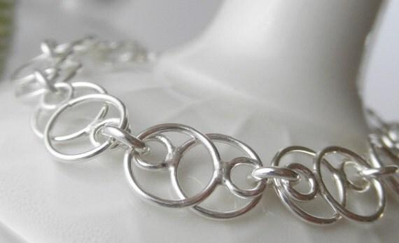 Infinite Bracelet. Sterling Silver 18gauge. Handmade Linked Chain. Aroluna Jewelry