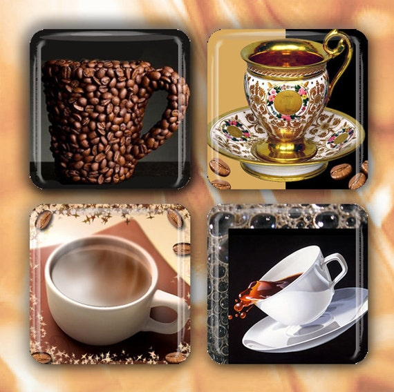 "FREE Shipping in the US - Coffee Cups - Set of 4 Glass Tile Magnets 1"" square with Tin Container"