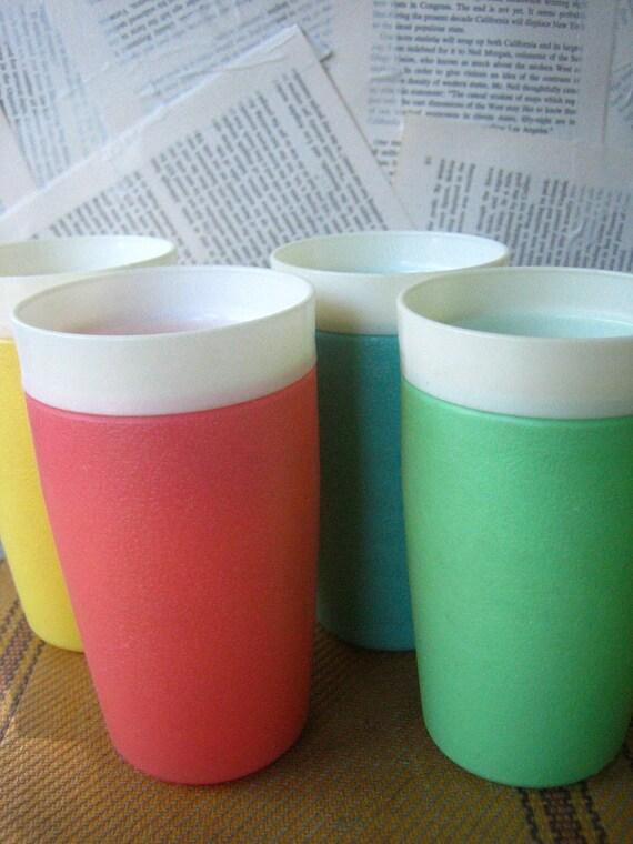 4 Vintage Pastel Tumblers