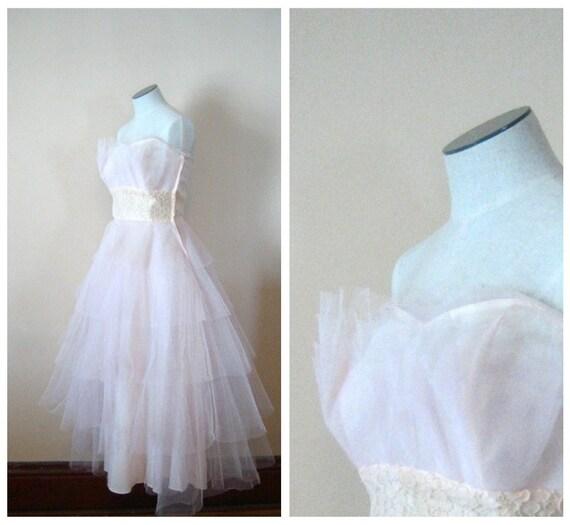 Vintage Fallen in Love Pale Pink Petal 1950s Dress, Size Small