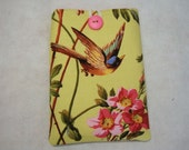 Padded Kindle eReader Sleeve  Yellow with bird and pink flowers