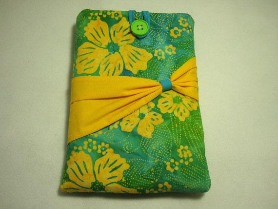 Padded Kindle Sleeve,  Tropical Hawaiian Print, teal, blue green and yellow hibiscus flowers