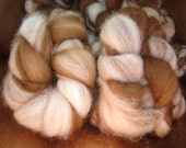 Spinning, Fiber Tea & Crumpets.. Phat Fiber April Tea Party..2 oz Llama Alpaca Natural Tan, craem, Dark Brown and red/brown