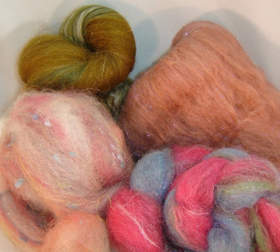 Fiber Batt Collection... Inspineration.... March...Fairy Land....4 oz Llama, Alpaca wool silks and much more....