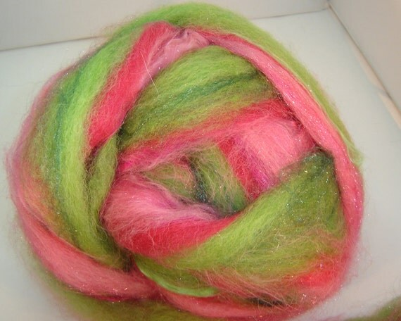 Roving, Spinning Fiber, Hand Pulled, Water Melon, 2 oz  llama, alpaca, wool, bamboo, fire star,in  pinks and  greens