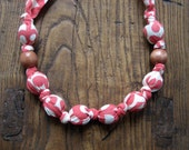 fabric wrapped bead necklace - Amy Butler Wall Flowers