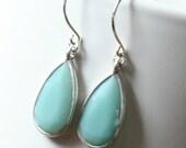 Seafoam green teardrop dangle earrings