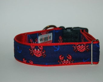 Crabs and Anchors handmade dog collar
