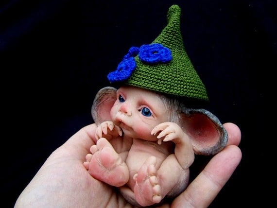 OOAK Baby Mouse with funny hat by Malga
